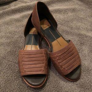 Dolce Vita Slip On Sandal - Faux Weave Brown